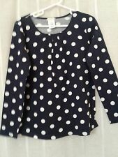 Crewcuts Girl's Polka Dot Long Sleeve TShirt Top NWT Navy Blue white J Crew