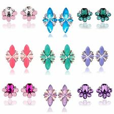 Opal Crystal Statement Earrings Flower Gem Stud Rhinestone Party Wedding Bridal