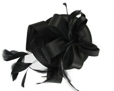 Black Fascinator on Headband/ Clip-in for Weddings, Races and Occasions-5631