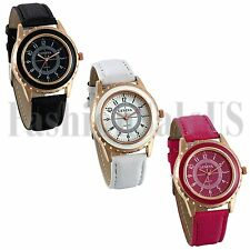 Fashion Womens White Black Rosered Quartz Leather Stripe Analog Wrist Watch Gift