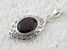 Natural Smoky Quartz 10x12mm Normal Cut Gemstone 925 Sterling Silver Pendant