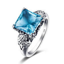 925 Sterling Silver ring Square Cut  Swiss Blue Topaz gem Handmade vintage style
