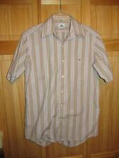 LACOSTE SHORT SLEEVE BUTTON DOWN STRIPED SHIRT PINK/BLUE/BROWN  ADULT SIZE 40