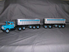 Custom Built 1/34 Mack Cab with 2 Tri-Axle Dump Trailers and Dolly