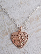 STERLING SILVER ROSE GOLD PLATED BEST FRIENDS FOREVER HEART PENDANT NECKLACE 925