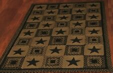 IHF Black Star Rectangle Braided Area Rug Primitive Country Jute Black/Tan New