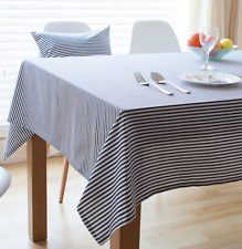 Blue White Strips Bar Coffee Table Cotton Linen Cloth Cover oUSr