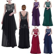 Womens Elegant Ruched Chiffon Slim Party Evening Cocktail Long Dress Ball Gown