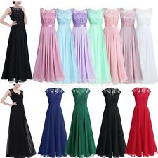 Women Lace Long Chiffon Dress Bridesmaid Wedding Evening Party Ball Gown Dresses