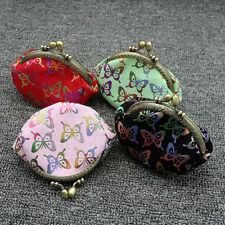Butterfly Purse Mini Pocket Wallet Card Coin Handbag with Faux Pearl Chain Sturd