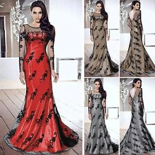 Sexy Women Backless Mesh Long Sleeve Party Dress Glamour Embroidery Evening Gown