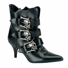 Demonia Goth Punk Witchy Ankle Boot  Black Nappa Vegan Leather