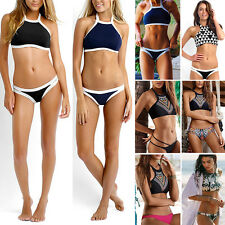 Womens Halter Neck Padded Push up Bikini Crop Top Swimsuit Bathing Swimwear Suit