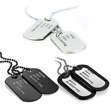 Men's Army Military Black Silver Tone Alloy ID 2 Dog Tags Pendant Necklace Chain
