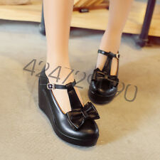 NEW Womens High Heels Shoes Wedge Bowknot T-strap Platforms Pumps AU Size YD6981