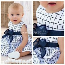 Toddler Baby Girls Cotton Plaid Dress Kids Sash Tutu Skirt Party Clothes 6M-3T