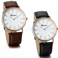 Fashion Geneva Womens Mens Ultra Thin Leather Band Analog Quartz Wrist Watch New