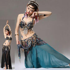 2 PCS Tribal Belly Dance Costume Outfit Set Bra Skirt Carnival XL/Bra D Cup