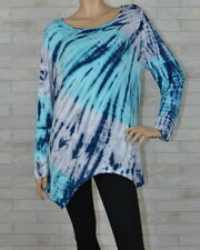 1X 2X 3X Bamboo Spiral Urban X Tie Dye Plus Size Shark Bite Tunic Top Blouse