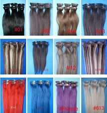 "OEM 100% Remy Real human hair 15"" 20"" 6PCS clip in human hair extensions Staight"