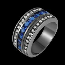 Man Womans Blue Sapphire Black 18K Gold Filled Wedding Rings Gifts Size 6-10
