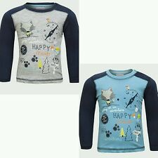 Boys Long Sleeves Top Toddler With Motif Cotton Grey or Blue Age 12 18 24 Months
