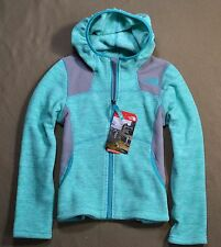 NWT GIRLS THE NORTH FACE ICE GREEN VIVA FLEECE HOODIE FULL ZIP JACKET SZ XXS M