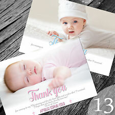 Personalised Photo Boy / Girl CHRISTENING / Baptism / THANK YOU cards (CTY13)