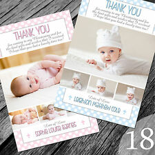Personalised Photo Boy / Girl CHRISTENING / Baptism / THANK YOU cards (CTY18)