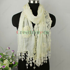 Womens Fashion Long Scarf 3D Flower Embroidery Lace Tassel Ladies Shawl Wrap New