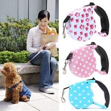 5M Nylon Strap Automatic Retractable Pet Lead Rope Dog Leash One-handed Lock