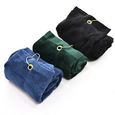 40x60cm Golf Tri-Fold Towel With Carabiner Clip Sport Hiking Cotton Cool CMCA