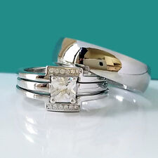 His Hers Solid 925 Sterling Silver Engagement CZ Wedding Ring Set Titanium Band