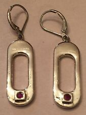ELLE 9.25 CHINA STERLING SILVER DROP EARRINGS WITH RED RHINESTONE