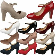 Emmeline Womens Mid High Heels Classic Ladies Mary Janes Shoes Pumps Strap Size