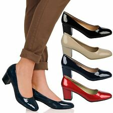 Yvonne Womens Mid Block Heels Slip On Smart Office Ladies Patent Court Shoes New