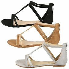 Darcy Womens Flats Low Heels Strappy Peep Toe Sandals Ladies Shoes Zip Up Size