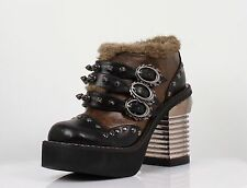 SALE New Goth/Steampunk Hades Davorin Boots Chunky Heels Black&Brown Shoes Rock