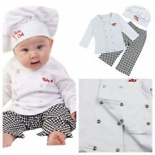 Baby Boy Girl Carnival Party Cook Chef Costume Outfit Top+Pants+Hat Set 6-24M