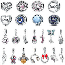 European 925 Silver CZ Charm Bead Pendants Fit sterling Bracelet Necklaces Chain