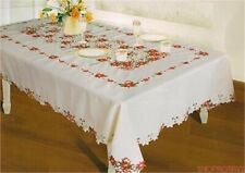 Rive Gauche Christmas Poinsettia Embroidered Tablecloth - Beige