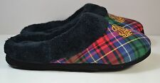 NWT LAUREN RALPH LAUREN BLACK PLAID FUZZY SOFT SLIPPERS SHOES SZ S, M