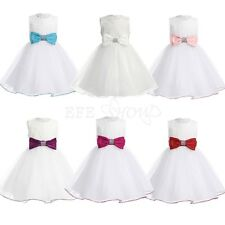 Infant Baby Bow Flower Girl Dress Kids Wedding Christening Communion Party Dress