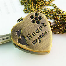 Bear Heart-shaped Retro New Bronze Long 1Pcs Slide the watch Necklace Pendant