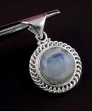 Natural Rainbow Moonstone Round 15mm Cabochon 925 Sterling Silver Plated Pendant