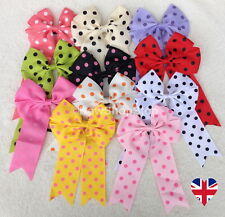 Polka Dot Bow Cheerleader Hair Bow Alligator Clip or Elastic Bobbles