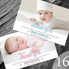 Personalised New Baby Thank You Cards / Announcement (NB16)