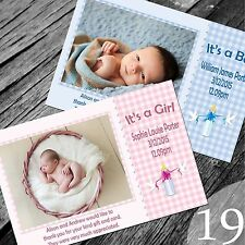Personalised New Baby Thank You Cards / Announcement (NB19)