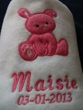 PERSONALISED SOFT FLEECE BABY BLANKET CHOICE OF 7 COLOURS AND 3 DESIGNS BNWOT