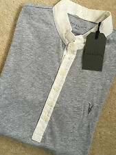 "ALL SAINTS GREY MARL ""SANTE"" LOGO POLO SHIRT T-SHIRT TOP - XS S M L - NEW TAGS"